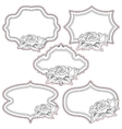 Set of vintage frames with roses isolated on vector image