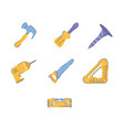 set tools working line and fill icons vector image