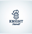 simple line style knight helmet abstract vector image