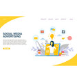 social media advertising website landing vector image vector image