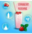 Strawberry smoothie milkshake recipe poster print vector image vector image