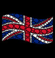waving british flag collage of brain icons vector image