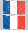Waving Hand Draw Sketch Flag of France vector image vector image