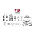 wine set hand drawn vector image vector image