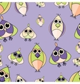 Green and purple cute owl seamless pattern vector image