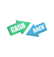 arrows with cash back words vector image vector image