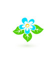 blue flower with green leaves on white background vector image vector image