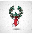 boot and wreath of Merry Christmas design vector image vector image