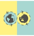 Business background with earth globe and airplane vector image
