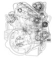 car engine rendering 3d vector image