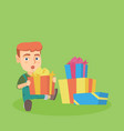 caucasian baby boy sitting with many gift boxes vector image