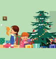 children opening christmas presents vector image
