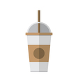 Coffee cup with straw vector image vector image