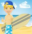 Cute teen boy with a surfboard on a sunny beach vector image