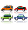 Different kinds of cars in four colors vector image vector image