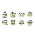 Farm icons set natural organic food Symbol vector image vector image