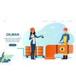 female character with notepad check oilman work vector image