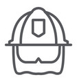 firefighter helmet line icon equipment and fire vector image vector image