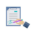 flat document signing icon vector image