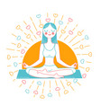 girl yoga inear style vector image vector image
