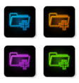 glowing neon add new folder icon isolated on vector image vector image