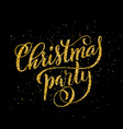 gold merry christmas party handwritten lettering vector image vector image