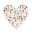 greeting card with floral elementsheart shaped vector image