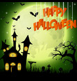 halloween background with church on the full moon vector image vector image