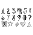Hand drawn numbers collection vector image