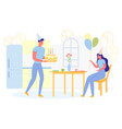 happy couple celebrating birthday at home party vector image vector image