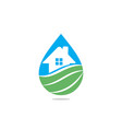 house logo incorporated with water vector image vector image