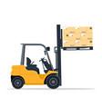 industrial forklift design lifting cardboard boxes vector image vector image