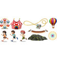 isolated objects from circus theme with children vector image