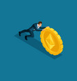 isometric business men superhero pushes a large vector image vector image