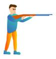 man shotgun sport shooting icon cartoon style vector image vector image