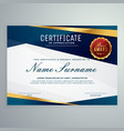 modern blue and golden certificate template vector image