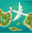 plane flies over a few tropical islands vector image