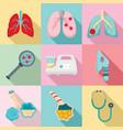 pneumonia icon set flat style vector image vector image