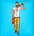 Pop art brutal bearded man macho with