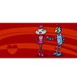 robots couple in love valentine card vector image vector image