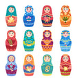 russian dolls authentic traditional toys vector image vector image