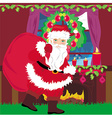 santa claus with a bag of gifts vector image vector image