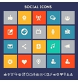 Social icon set Multicolored square flat buttons