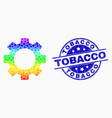 spectral dot gear icon and distress tobacco vector image vector image