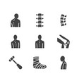 spine backbone flat glyph icons orthopedics vector image