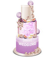 wedding cake delicious dessert with fruits vector image vector image