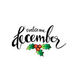 welcome december lettering greeting card vector image vector image