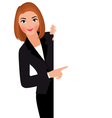 Businesswoman in suit holding blank white sign vector image