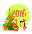 Cartoon mother with daughter decorating christmas vector image
