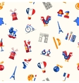 France travel icons seamless pattern with famous vector image